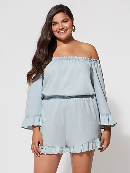 Plus Size Rylie Off-Shoulder Romper - Fashion To Figure