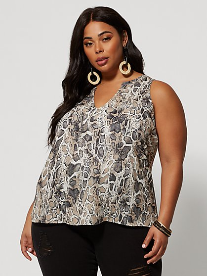 Plus Size Sabra Snake Print Hi-Lo Tank - Fashion To Figure