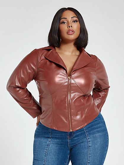 Plus Size Sabrina Faux Leather Zip Top - Fashion To Figure