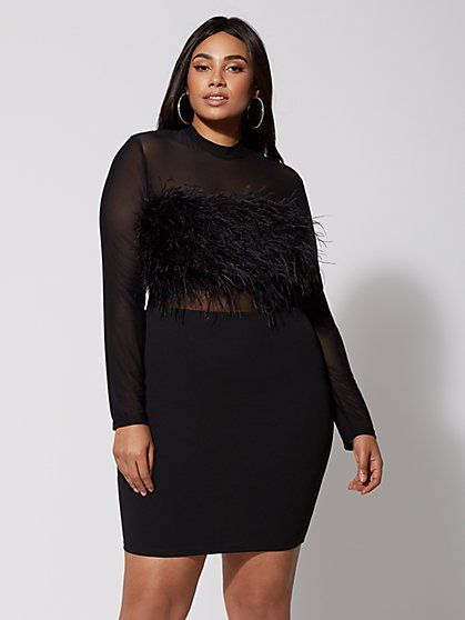 Plus Size Sabrina Feather Bodycon Dress - Fashion To Figure
