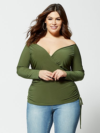 Plus Size Sadie Off Shoulder Ruched Top - Fashion To Figure