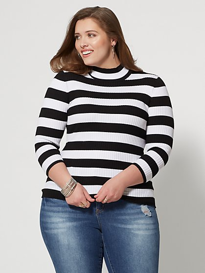 Plus Size Sadie Striped Mockneck Sweater - Fashion To Figure