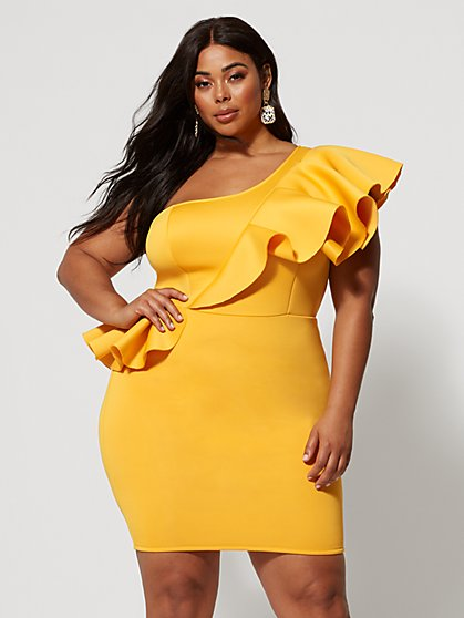 Plus Size Safia Ruffle Bodycon Dress - Fashion To Figure