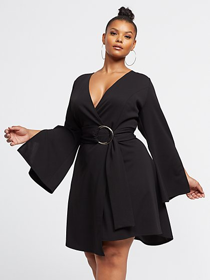 Plus Size Sage Belted Wrap Flare Dress - Fashion To Figure