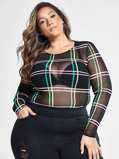 Plus Size Sage Grid Print Mesh Top - Fashion To Figure