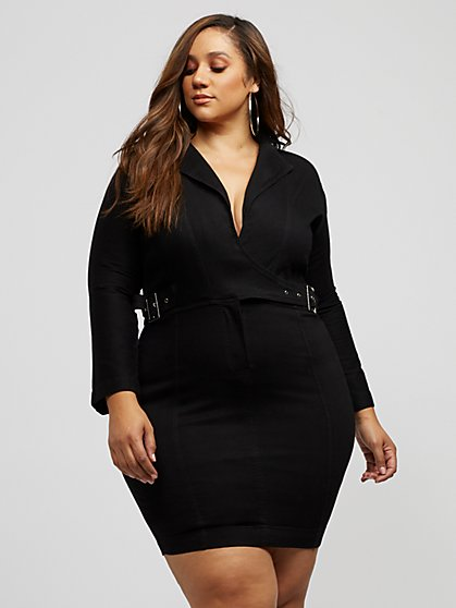 Plus Size Sahara Denim Blazer Bodycon Dress - Fashion To Figure