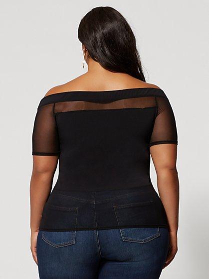 ee4d8ab47d46 ... Plus Size Saida Off Shoulder Mesh Top - Fashion To Figure ...