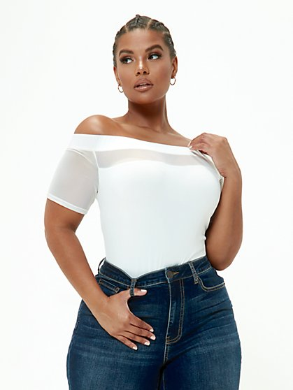 Plus Size Saida Off Shoulder Mesh Top - Fashion To Figure