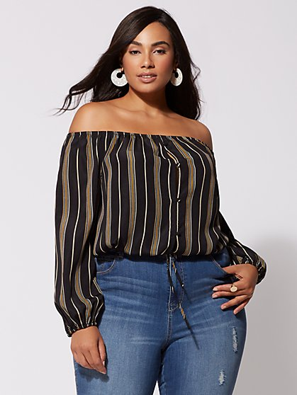 Plus Size Samantha Off-Shoulder Top - Fashion To Figure