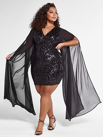 Plus Size Samara Sequin Dress with Mesh Sleeves - Fashion To Figure