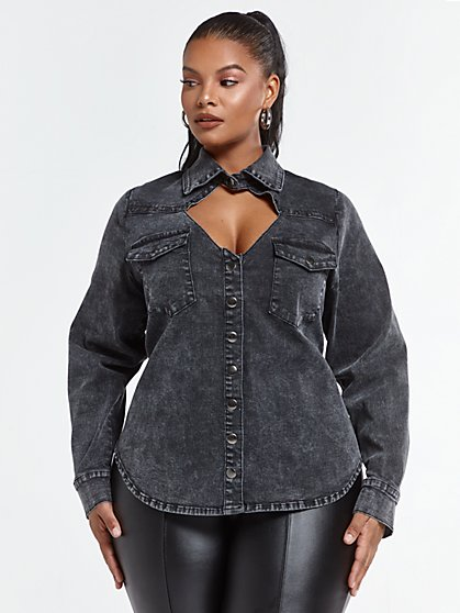 Plus Size Sammi Cutout Button Down Top - Fashion To Figure