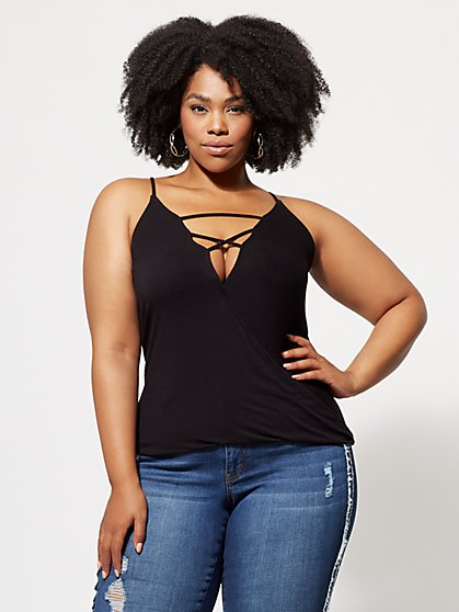 Plus Size Sammi Lace-Up Surplice Top - Fashion To Figure