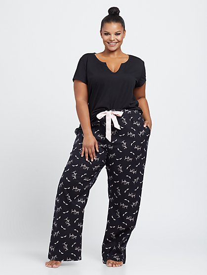 Plus Size Sandi Beauty Sleep Print Pant Pajama Set - Fashion To Figure
