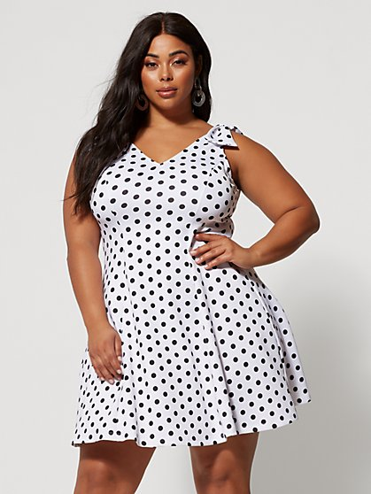 Plus Size Sandi Polka-Dot Flare Dress - Fashion To Figure