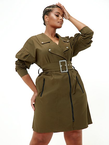 Plus Size Sarah Belted Moto Dress - Fashion To Figure