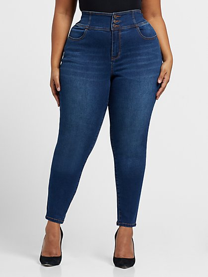 Plus Size Sarah Rae, All Day - Dark Wash High-Rise Triple Button Skinny Jeans - Fashion To Figure