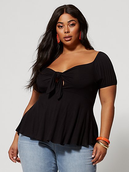 Plus Size Saria Tie-Front Peplum Top - Fashion To Figure