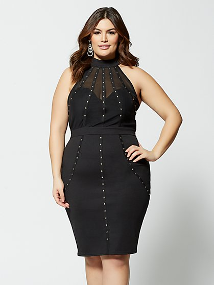 Plus Size Sarra Stud-Detail Bodycon Dress - Fashion To Figure