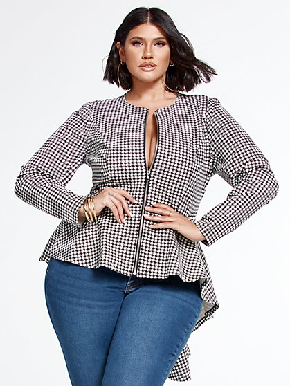 Plus Size Sasha Good Form Ponte Houndstooth Peplum Blazer - Fashion To Figure