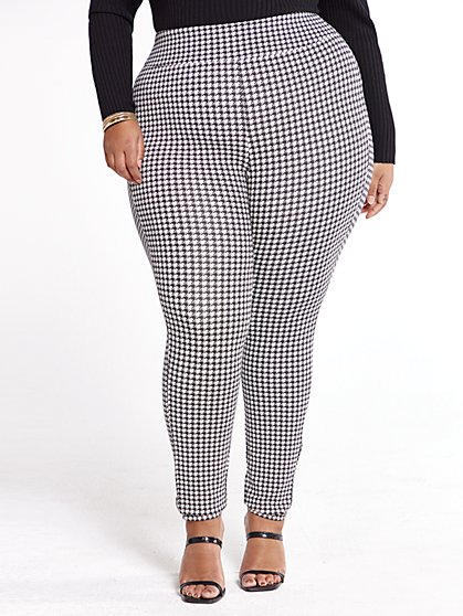 Plus Size Sasha Houndstooth Good Form Ponte Knit Pants - Fashion To Figure