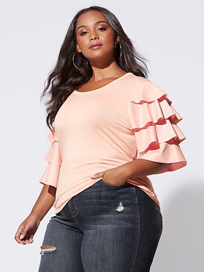 Plus Size Sasha Tiered-Sleeve Tee - Fashion To Figure