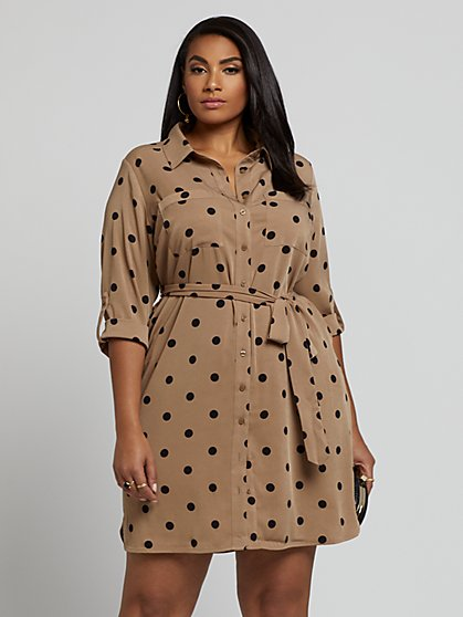 Plus Size Savannah Dot Print Shirt Dress - Fashion To Figure