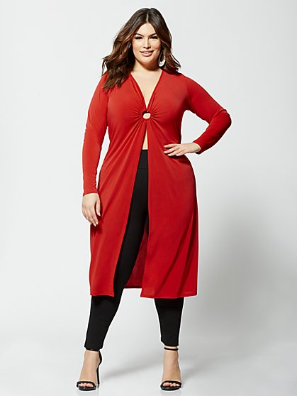 Plus Size Scarlet Circle Detail Duster - Fashion To Figure