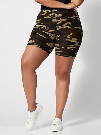 Plus Size Scout Camo Bike Shorts - Fashion To Figure