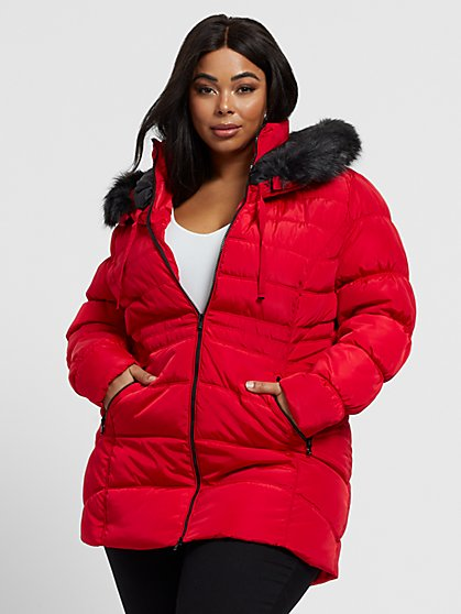 Plus Size Scout Faux-Fur Hood Puffer Coat - Fashion To Figure