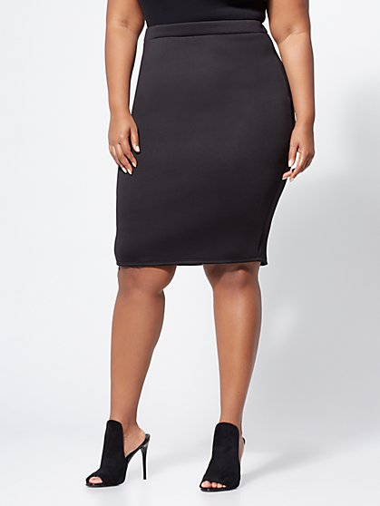 Plus Size Scuba Pencil Skirt - Fashion To Figure