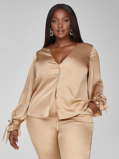 Plus Size Selena Satin Button Down Shirt - Fashion To Figure