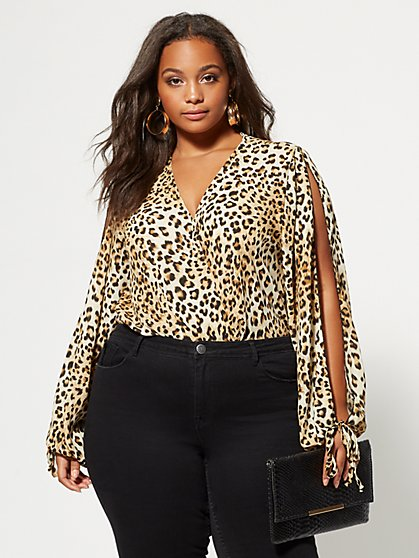 Plus Size Selina Slit-Sleeve Bodysuit - Fashion To Figure
