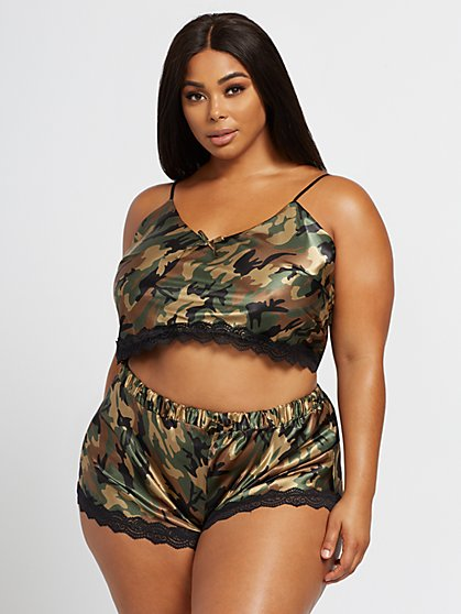 Plus Size Selma Satin Camo Chemise Lingerie Set - Fashion To Figure