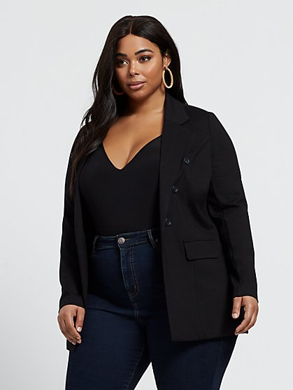 Plus Size Sera Button Detail Blazer - Fashion To Figure