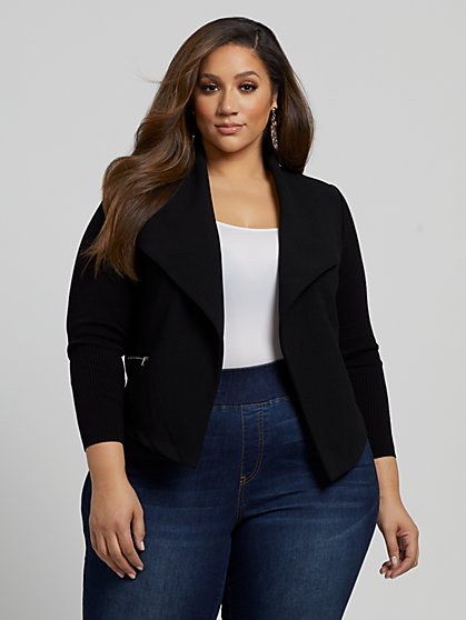 Plus Size Serena Sweater Sleeve Blazer - Fashion To Figure