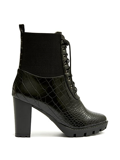 Plus Size Set It Off - Black Faux-Croc Tie Up Booties - Fashion To Figure