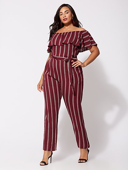 Plus Size Shadia Off-Shoulder Jumpsuit - Fashion To Figure
