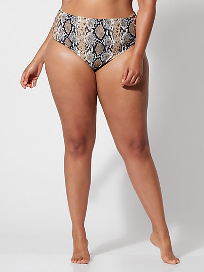 Plus Size Shae Snake Print Bikini Bottom - Fashion To Figure