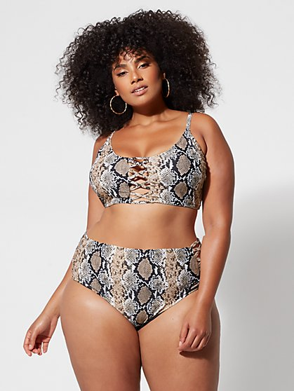 7613f9724fe Plus Size Shae Snake Print Bikini Top - Fashion To Figure ...
