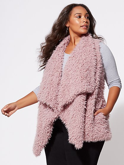Plus Size Shaggy Faux-Fur Vest - Fashion To Figure