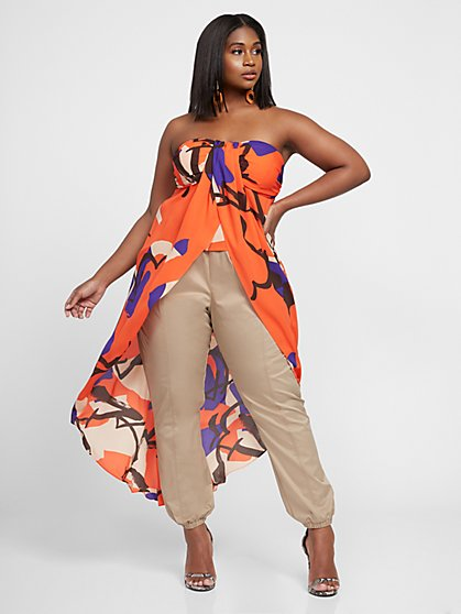 Plus Size Shakera Strapless Hi-Low Print Top - Gabrielle Union x FTF - Fashion To Figure