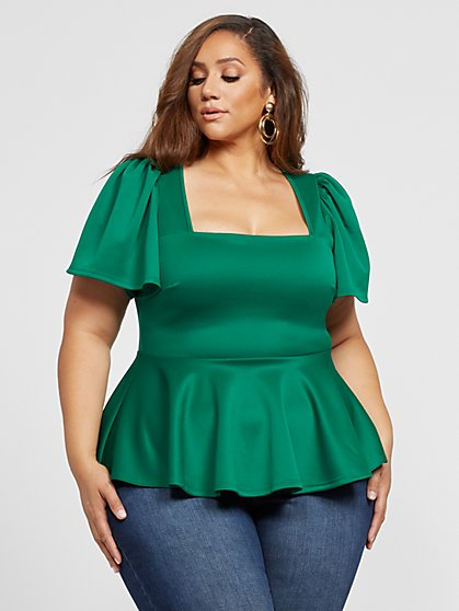 Plus Size Shana Flutter Sleeve Peplum Top - Fashion To Figure