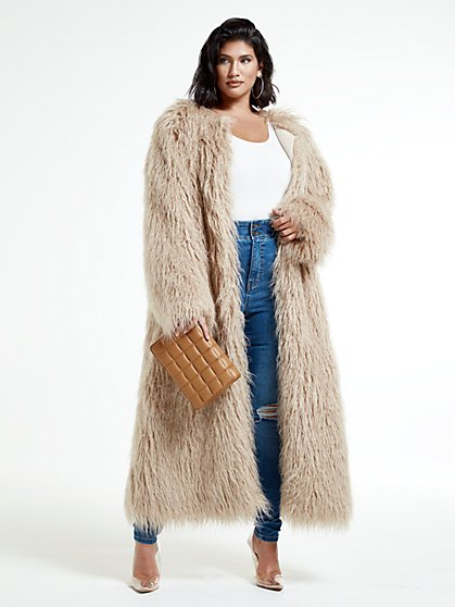 Plus Size Shanice Ankle Length Faux Fur Coat - Fashion To Figure