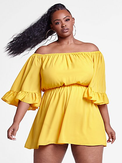 Plus Size Shanice Off The Shoulder Romper - Fashion To Figure