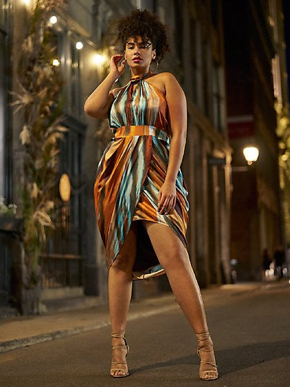Plus Size Shannon Print Halter Dress - Gabrielle Union x FTF - Fashion To Figure