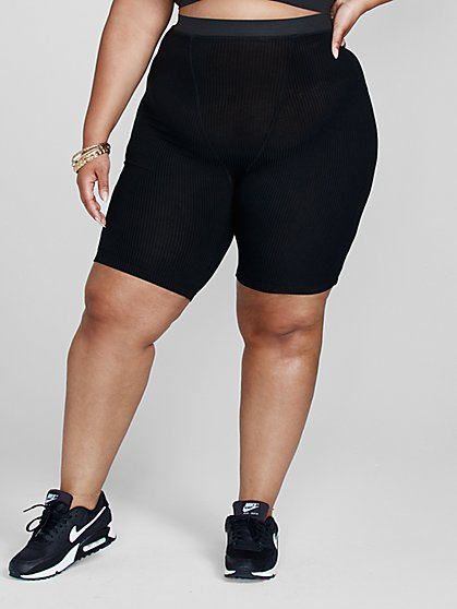 Plus Size Shannon Rib Knit Shorts - Fashion To Figure
