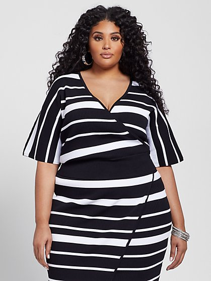 Plus Size Shannon Striped Kimono Sweater - Gabrielle Union x FTF - Fashion To Figure