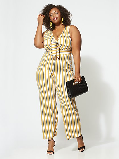 Plus Size Shannon Tie-Front Jumpsuit - Fashion To Figure