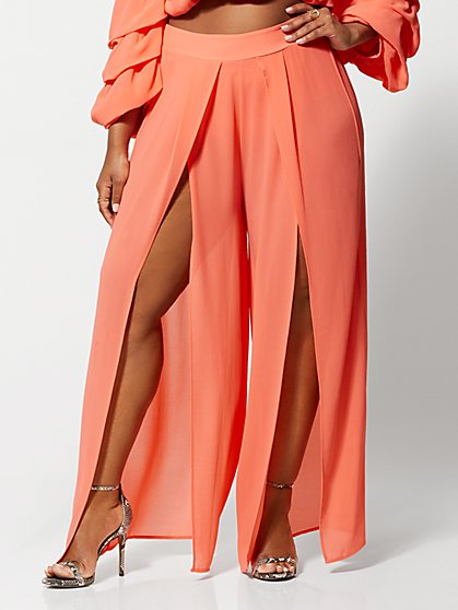 Plus Size Sharmine Double-Slit Pants - Fashion To Figure