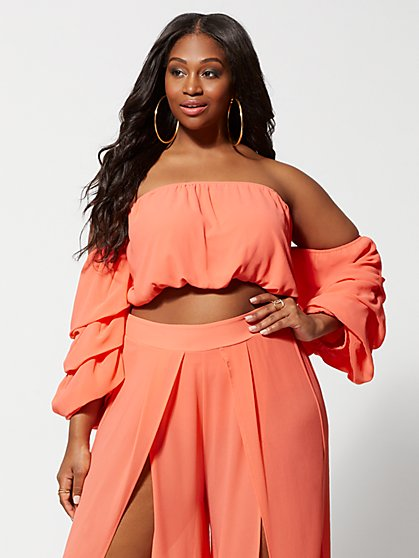 Plus Size Sharmine Flowy Crop Top - Fashion To Figure